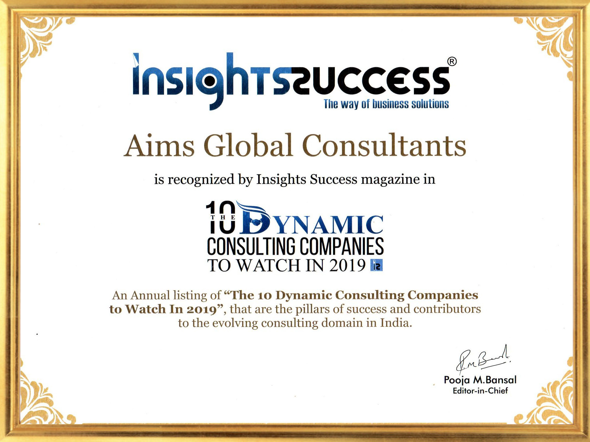 Insights success media certificate for 10 Dynamic consulting company