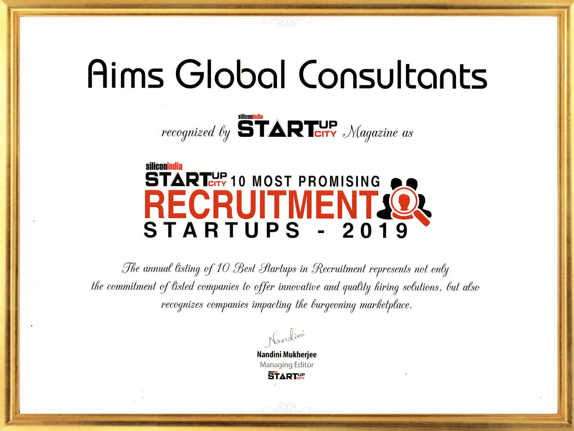 Silicon india certificate for 10 most promising recruitment startups company