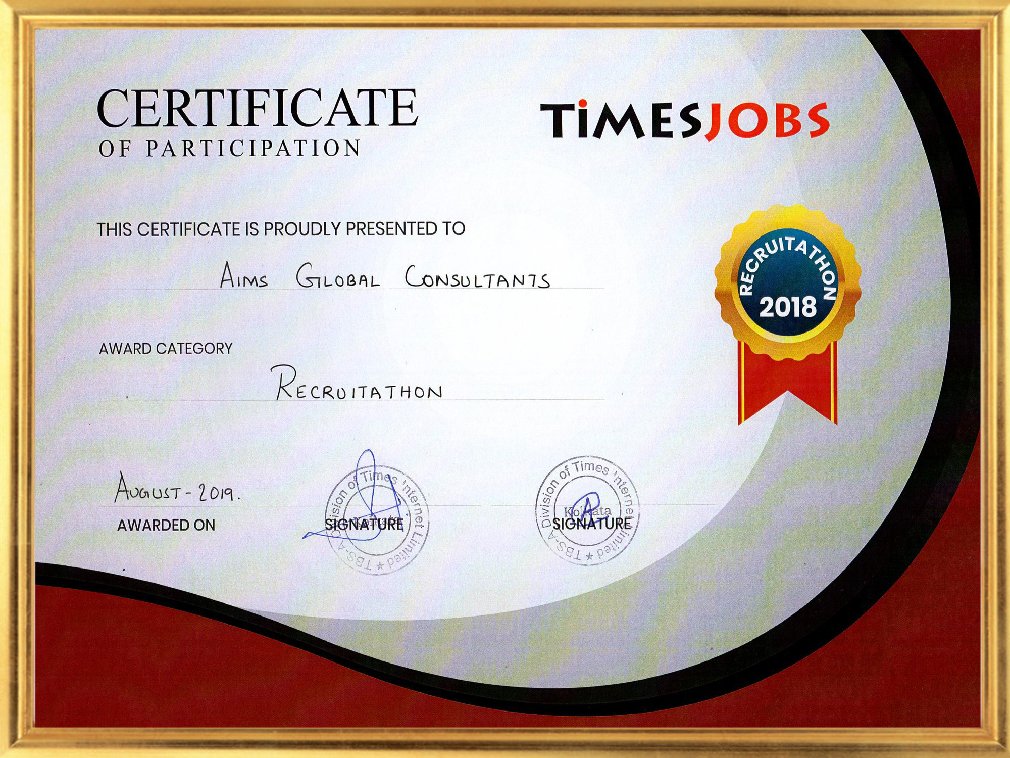 aims global consultants certification by times jobs